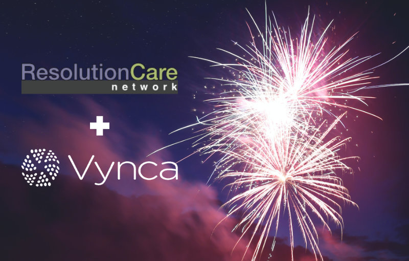 ResoltuionCare and Vynca logos on fireworks background